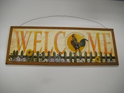 Welcome Rooster and Sunflowers Country Kitchen Farm Home Decor Wood