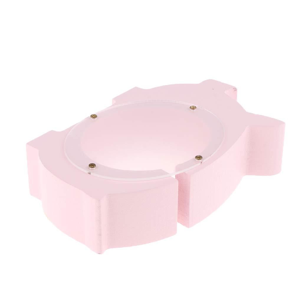 DYNWAVE Wooden Money Piggy Bank Deposit Box Coins Saving Pot for Kids Babies Birthday Pink