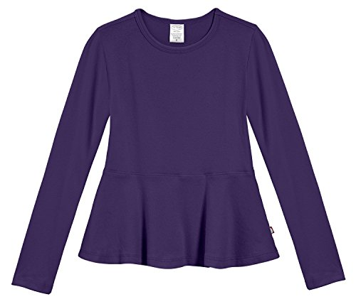 City Threads Big Girls' Cotton Long Sleeve Peplum Top Blouse Shirt for School, Parties or Play Perfect for Sensitive Skin and Sensory Friendly SPD, Purple, 6