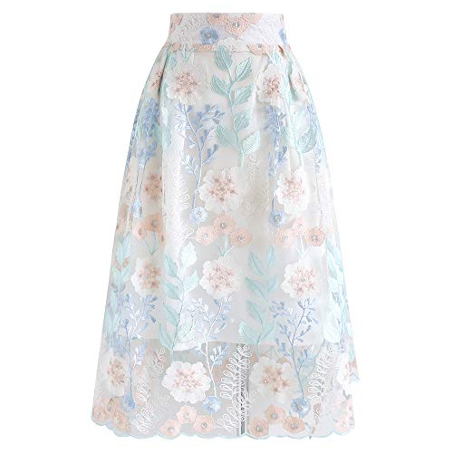 Chicwish Women's Flowers Floral Embroidered Mesh Organza Midi Prom Party Skirt ()