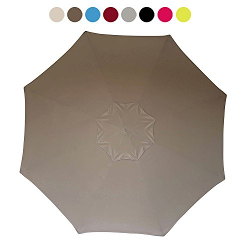 (10+ colors) Eliteshade 9ft Replacement Patio Umbrella Market Table Outdoor Umbrella Canopy 8 Ribs (Khaki)