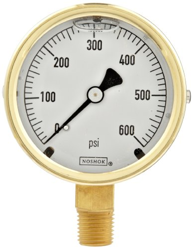 Noshok 300 Series Brass Liquid Filled Dial Indicating Pre...