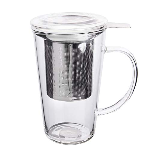 Enindel Fashion Simple Style Glass Tea Mug with Infuser and Lid Tea Cup 16 ounces