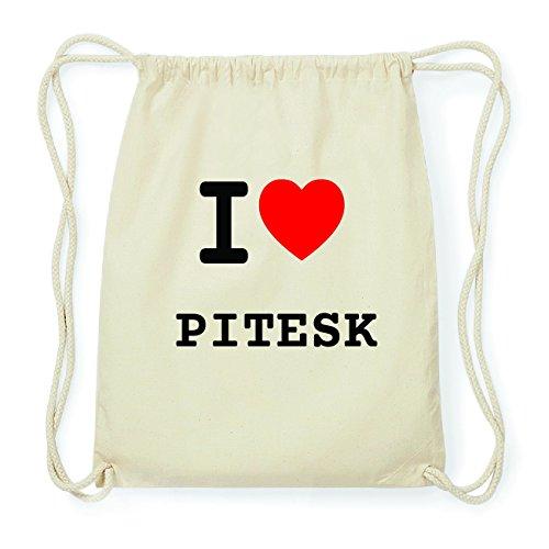 JOllify PITESK Hipster Turnbeutel Tasche Rucksack aus Baumwolle - Farbe: natur Design: I love- Ich liebe KJWHhss6qF