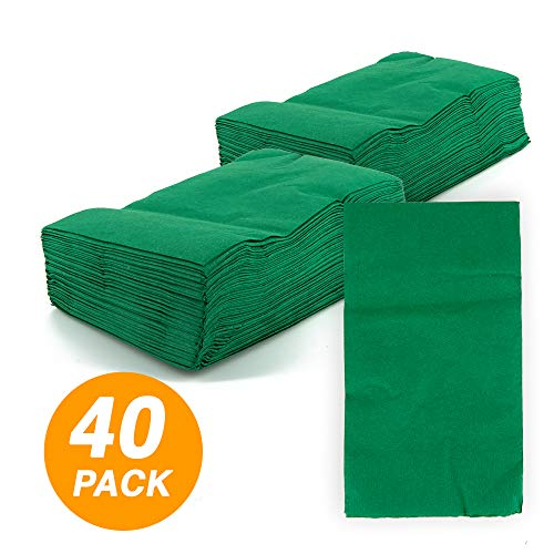 - SparkSettings Big Party Pack Tableware 2 Ply Guest Towels Hand Napkins Paper Soft and Absorbent Decorative Hand Towels for Kitchen and Parties 40 Pieces Festive Green