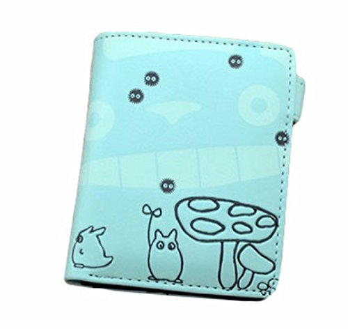 new Cuero Piel Cartera Multi-bolsillos Cartera hombre Purse Gato Dibujo Totoro rare