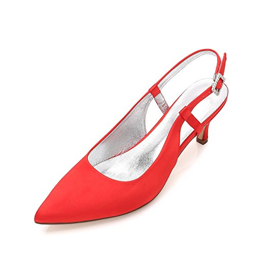 Shoes L Toe D99634 Closed Heels Pointed Pumps High Wedding Satin Women Party Spool Prom Red 8 YC ZwUBZq1