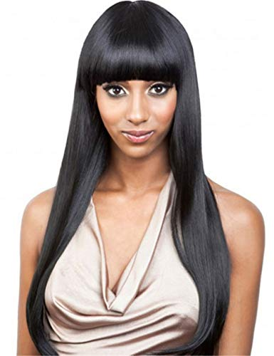 TopWigy Women Long Straight Wig Black 28 Inches Synthetic Heat Resistant Wigs with Bangs Natural Looking Wig for Halloween Cosplay -