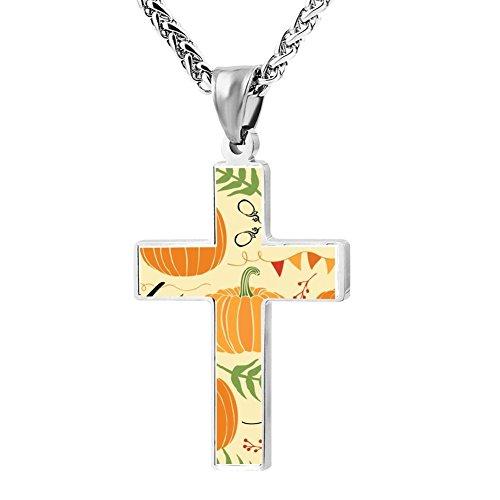ZHJshuer Cute Pumpkin Cross Necklace for Men Women Religious Jewelry Enamel Pendant -