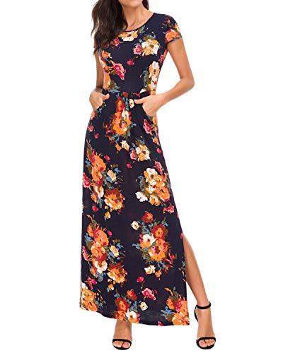 MINTLIMIT Women's Striped Floral Print Cap Sleeve Elastic Waist Maxi Dress with Pockets(Floral Navy Blue Size XXL)