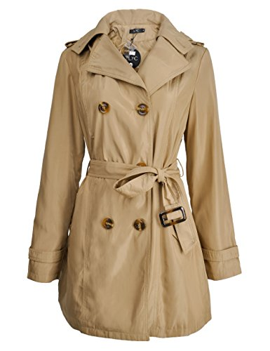 ZLYC Women's Double Breasted Detachable Hoodie Trench Coat With Belt, Khaki, (Hoodie Trench)