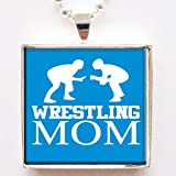 Wrestling Mom Glass Tile Pendant Necklace with Chain