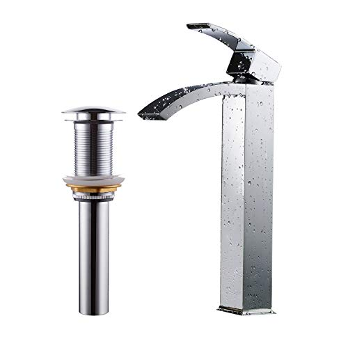 Greenspring Tall Spout Brass Commercial Bathroom Sink Vessel Faucet Basin Mixer Tap Include Without Overflow Pop Up Drain,Chrome Finished