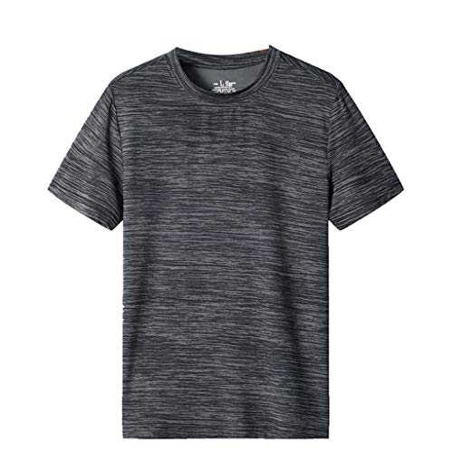 YOCheerful Men's Tops Summer Casual O-Neck T-Shirts Fitness Sport Fast-Dry Shirts Breathable Tops Gray ()