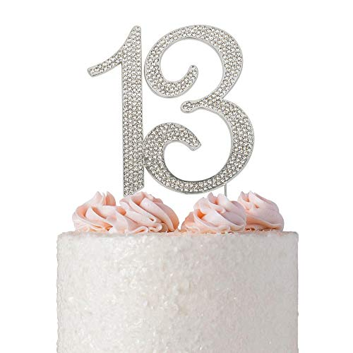 13 Rhinestone Birthday Cake Topper | Premium Sparkly Crystal Diamond Bling Gems | 13th Birthday or Anniversary Party Decoration Ideas | Quality Metal Alloy | Perfect Keepsake (13 Silver)