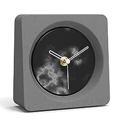 HOFEINZ Scandinavian Décor Handmade Non-Ticking Desk Clock with Granite Dial (Grey)