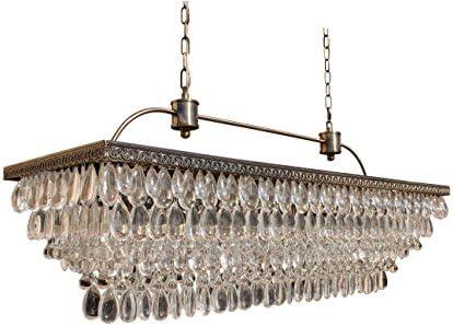 The Weston 40 Inch Rectangular Glass Drop Crystal Chandelier, Antique Brass