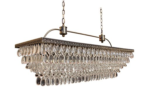 The Weston 40 Inch Rectangular Glass Drop Crystal Chandelier, Antique Brass