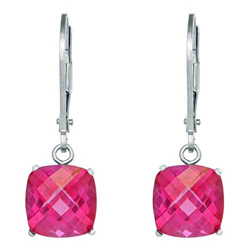 Lavari - 8MM Cushion Natural Rose Pink Topaz Sterling Silver Leverback Earrings