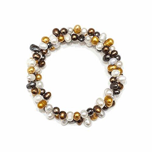 Amanda Blu Genuine Freshwater Pearl Spiral Bracelet-Brown Multi (Pearl Spiral Bracelet)
