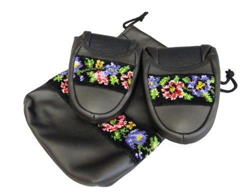 Pantoufles portables Funami conception florale noire (23 ~ 24cm) 3027 (japon importation)