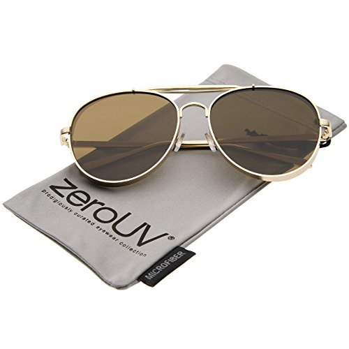 zeroUV - Modern Fashion Flat Lens Full Metal Side Cover Frame Double Bridged Aviator Sunglasses (Gold / - Sides Gold Glasses With
