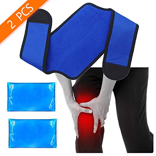 WORLD-BIO Knee Sports Ice Pack Wrap Flexi Cold Gel Pack, Hot & Cold Therapy for Injuries Recovery (Knee, Foot, Ankle, Thigh), Pain Relief for Swelling, Sprains, Arthritis