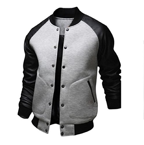 XINHEO Men Plus-Size Fall Winter Buckle Patched Slim Baseball Jackets Light Grey