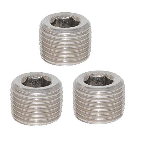 Joyway 3Pcs Stainless Steel Internal Hex Countersunk Thread Socket Pipe Plug 1/4