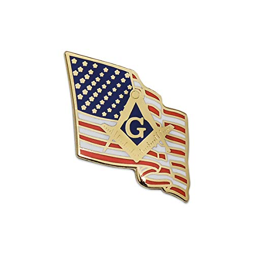 American Flag with Square & Compass Masonic Lapel Pin - 7/8