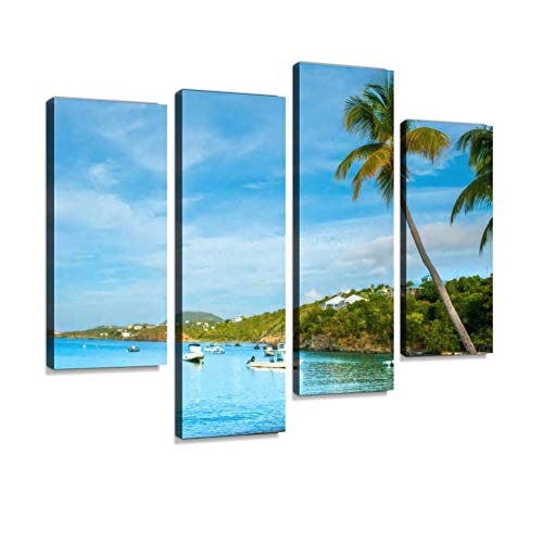 Tranquil Bay in St Thomas, Virgin Islands Canvas Wall Art Hanging Paintings Modern Artwork Abstract Picture Prints Home Decoration Gift Unique Designed Framed 4 Panel