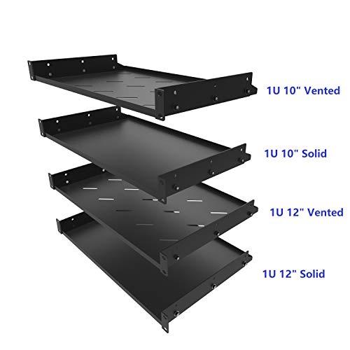 Mofangtech Cantilever 19-Inch 1U Server Rack Tray Shelf New Disassembled Vented Shelf Rack Mount 12-Inch (305 mm) Deep, 50lbs Capacity (DSRS5-1U12V) ()
