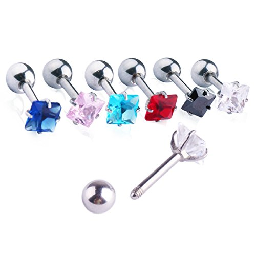 Mobody 8 pcs Unisex Cubic Zirconia Gem Stainlss Steel Barbell Earring/ Cartilage Helix Earring/ Stud Earring (Square (All Colors))