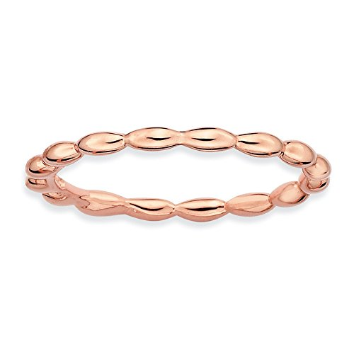 1.5mm 14k Rose Gold Plate Sterling Silver Stackable Bead Band, Sz 8