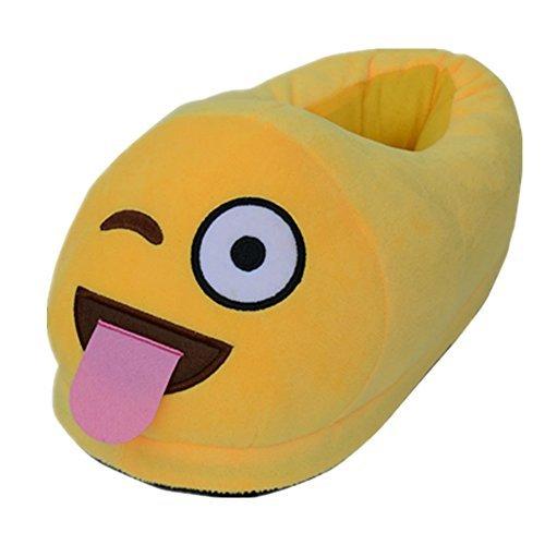 Dolphineshow Schattige Emoji Winter Kak Vormige Schoenen Unisex- Volwassen Slippers Emoji Spullen Pluche Pop Speelgoed (kak) Smile-c