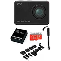 ACTIVEON CX Action Cam, Black - Bundle With 32GB MicroSDHC Card, Activeon Selfie Stick, Rechargeable Li-ion Battery, Bag of Mounts