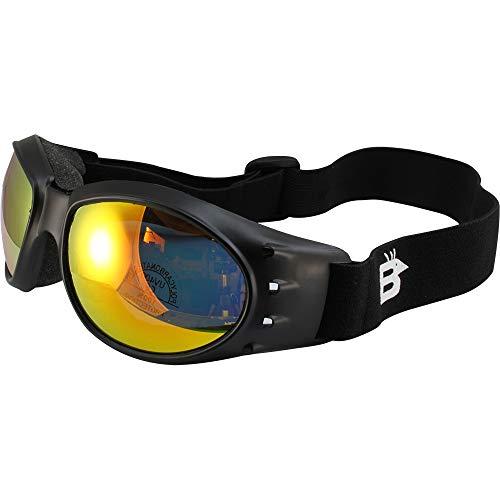 Birdz Eagle Matte Black Padded Sport Riding Goggle with ReflecTech Orange Mirror Lens ()