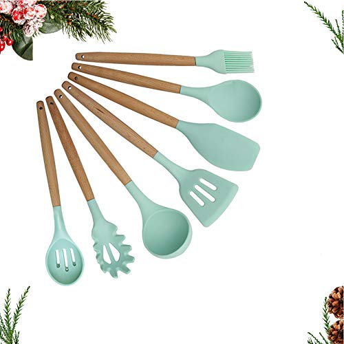 Piu Silicone Cooking Utensils 7 Set Kitchen Gadgets Wooden Cooking Tools of Turner Tongs Spatula Spoon Whisk Ladle – Mint Green (Ladle Green)