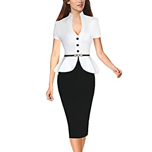 Inshine Women Classy Peplum V-Neck Party Cocktail Business Dresses