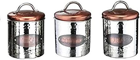 Vintage Copper Tea Coffee Sugar Jars Kitchen Storage Canisters Set Air Tight Lid By Jt247