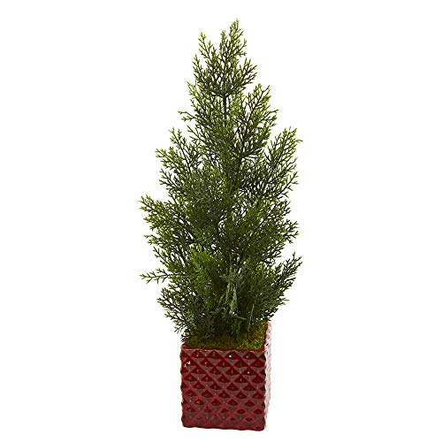 Nearly Natural 5693 25-in. Mini Cedar Pine Artificial Red Planter (Indoor/Outdoor) Silk Trees Green