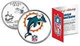 Licensed Miami Dolphins NFL Colorized Florida Statehood Quarter! W/H COA & Display Stand!