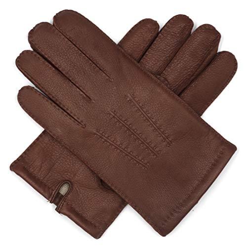 Harssidanzar Mens Deerskin Leather Gloves Cashmere Lined Vintage Finished, Saddle, M ()