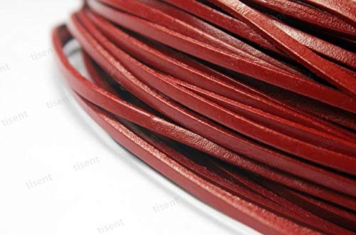 Leather Hawthorn - Laliva 2 Yards 3mmx2mm Flat Real Leather Strap, 3mm Wide Leather Strip - (Color: Hawthorn)