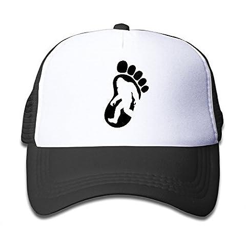 Kid's I Believe In Bigfoot Footprint Trucker Hat Black (Bigfoot Products)