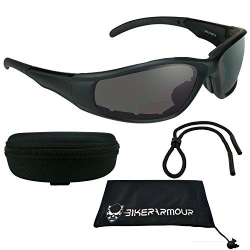 Motorcycle Bi-focal Sunglasses +1.50 ANSI Z87.1 Safety Smoke Lens - Free Hard Case and Sunglass Strap - Sunglasses Airfoil