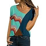 Blouses for Women Summer Asymmetric Neck Short Sleeve Shirts Geometric Stripe Casual T-Shirt Tops (L, Green)