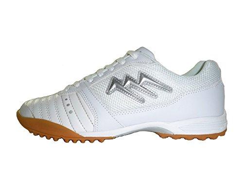AGLA - Zapatillas de fútbol sala de Material Sintético para hombre Media Blanco/Plateado