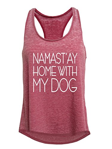 Tough Cookie's Women's Namast'ay Home with My Dog Mineral Wash Tank Top (Large, Coral) (Namast Ay Home With My Dog Shirt)