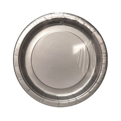 SILVER SOLID 7'' PLATE 8 CT #34552, CASE OF 144 by DollarItemDirect